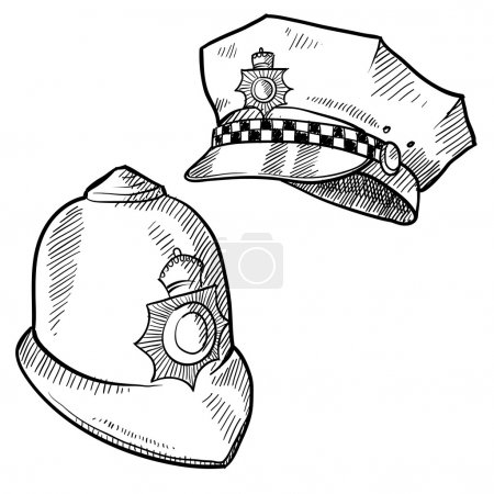Police hats sketch