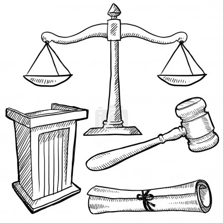 Illustration for Doodle style justice or law vector illustration with podium, gavel, and scales of justice - Royalty Free Image