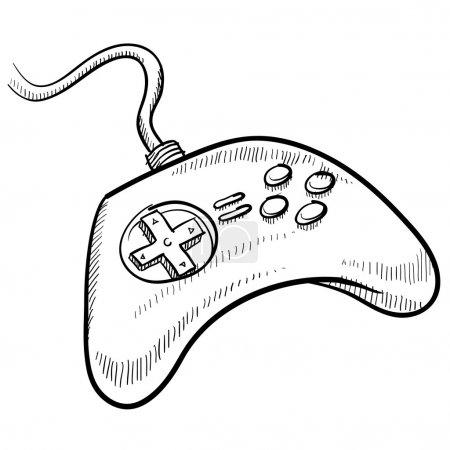 Illustration pour Illustration vectorielle de contrôleur de jeu vidéo de style Doodle - image libre de droit