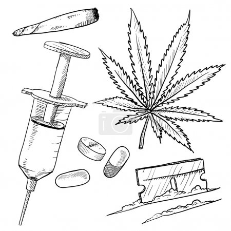 Illegal drugs vector sketch