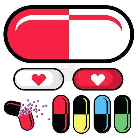 Illustration pour Produits pharmaceutiques ou capsules pilule comme illustrations vectorielles. Ensemble comprend des pilules avec des symboles médicaux, gelcaps cassé ouvert, et plusieurs combinaisons de couleurs . - image libre de droit