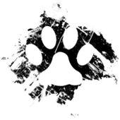 Grunge paw print vector