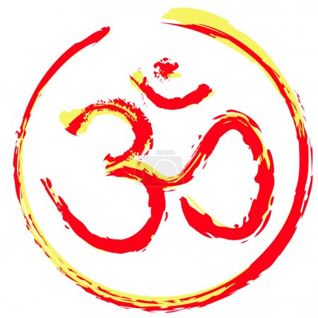 Illustration for Hindu om or aum icon illustration designed to look hand painted. Scalable vector file. - Royalty Free Image