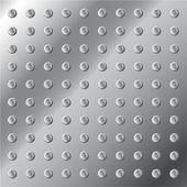 Detailed vector illustration of a shiny metal background or texture with small bolts