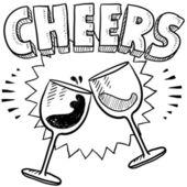 Cheers bor pohár pirítós vázlat