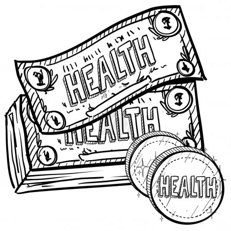 Illustration for Doodle style health care costs illustration in vector format. Includes text and currency. - Royalty Free Image