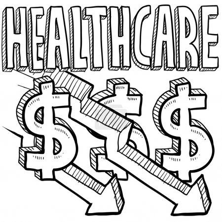 Illustration for Doodle style health care costs decreasing illustration in vector format. Includes text, dollar signs, and down arrows. - Royalty Free Image