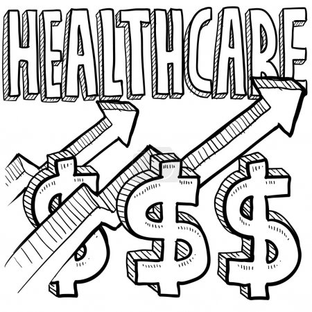 Illustration for Doodle style health care costs increasing illustration in vector format. Includes text, dollar sign, and up arrows. - Royalty Free Image
