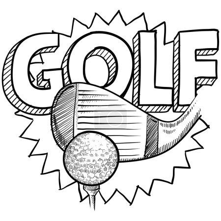 Doodle style golf illustration in vector format. I...