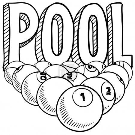 Pool or billiards sketch