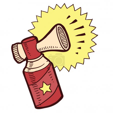 Illustration for Doodle style air horn announcement sketch - Royalty Free Image
