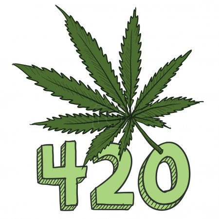 Illustration for Doodle style 420 marijuana leaf sketch in vector format. Includes text and pot plant. - Royalty Free Image