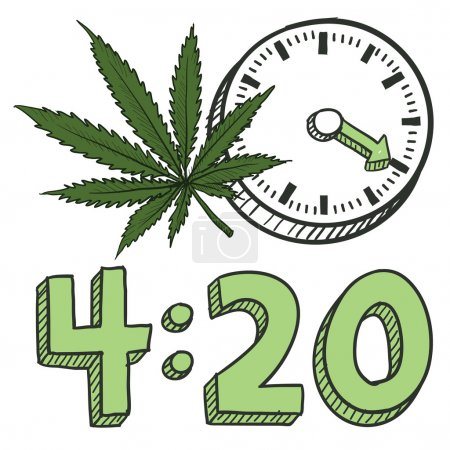 Illustration for Doodle style 420 marijuana leaf sketch in vector format. Includes pot plant, text, and clock. - Royalty Free Image