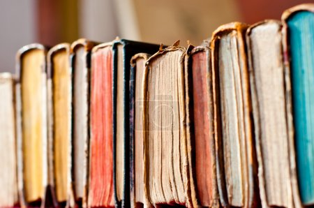 Photo for Old books row background - Royalty Free Image