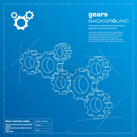 Illustration for Gears blueprint vector illustration. Technology, teamwork, solution...concepts. - Royalty Free Image