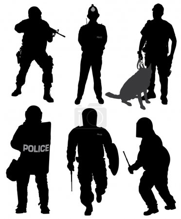 Illustration for Policeman Silhouette on white background - Royalty Free Image