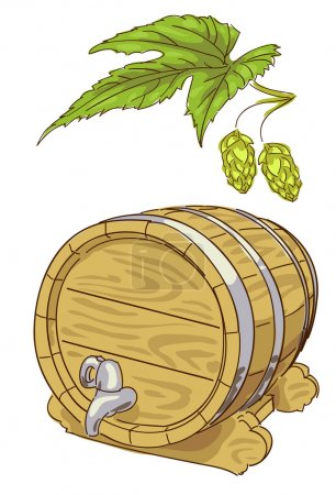 Old wooden barrel and hop branch.