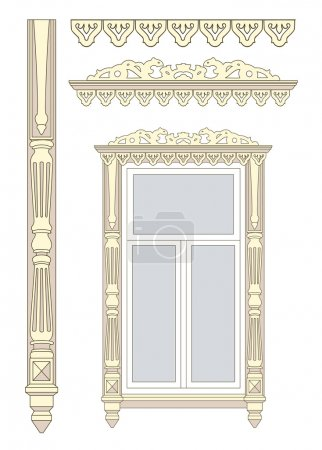 Illustration for Set of wooden decorations for the window. Vector illustration. - Royalty Free Image
