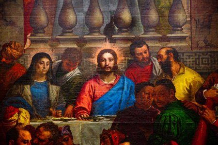 Photo for The Last Supper.Part of the painting in the Louvre Museum. - Royalty Free Image
