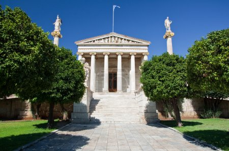 Academy of Athens with Plato and Socrates monument.