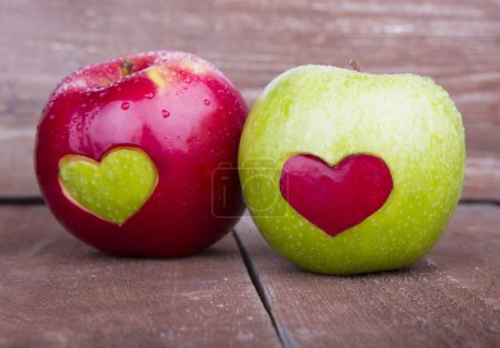 Photo for Two apples with heart - Royalty Free Image