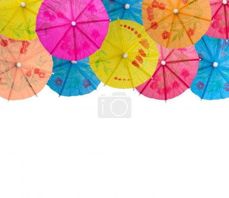 umbrellas for cocktails isolated on white background