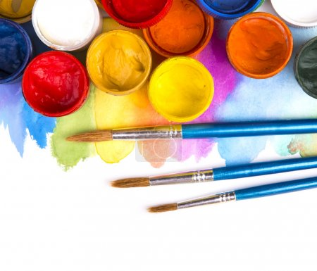 Photo for Art studio paints, palette - Royalty Free Image