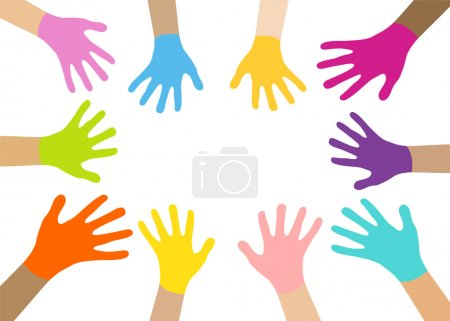 Illustration for Collection of multicolored hands with smiles on the background of colorful bokeh. Vector EPS10. - Royalty Free Image