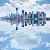 Panoramic image of lower Manhattan skyline from Staten Island Fe