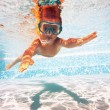 Underwater little kid in swimming pool with mask.