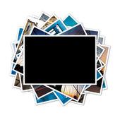 Kolekce fotografií s prázdný snímek ve středu na bílém bac