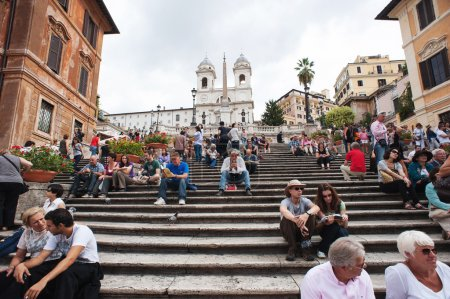 "ROME - SEPTEMBER 13: The Spanish Steps from Piazza di Spagna on September 13, 2012, Rome.The ""Scalinata"" is the widest staircase in Europe."