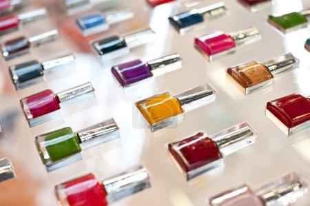 Group of bright nail polishes.