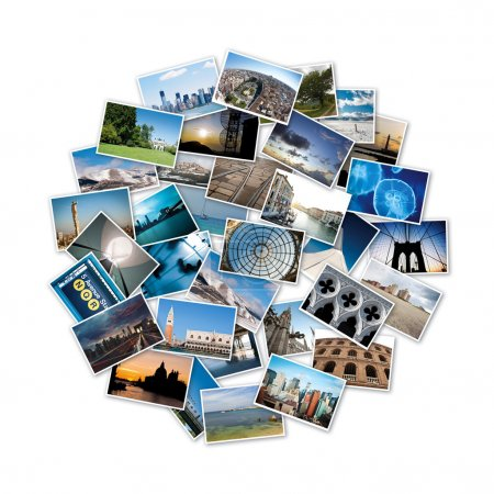 Round stack of travel images from the world.