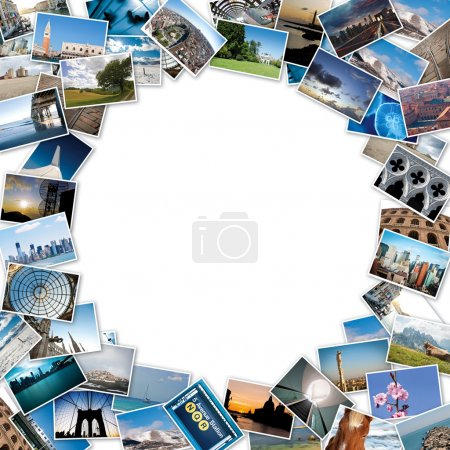 Round stack of travel images from the world with copy space