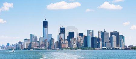 Panoramic image of lower Manhattan skyline from Staten Island Ferry