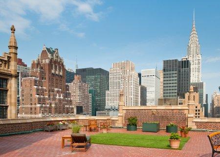 New York City terrace over Manhattan skyline view with Chrysler building