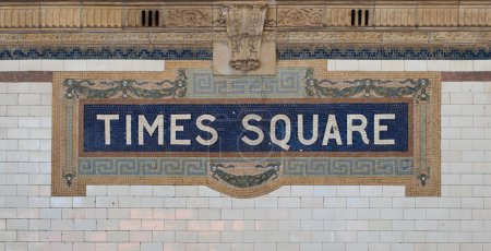 Times Square - New York city subway sign tile pattern in midtown Manhattan