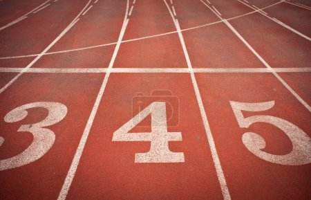 Photo for Numbers 3, 4 and 5 on running track. Perspective view - Royalty Free Image