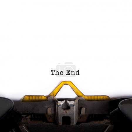 """The End"" message typed by vintage typewriter"