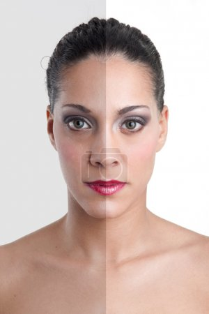 Photo editing of womans face showing photo manipulation