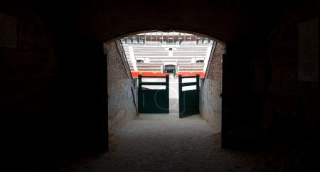 Door to Plaza de toros (bullring) in Valencia, Spain. The stadium was built by architect Sebastian Monleon in 1851