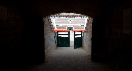 Door to Plaza de toros (bullring) in Valencia, Spain. The stadium was built by architect Sebastian Monleon in 1851