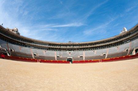 Panoramic interior view of Plaza de toros (bullring) in Valencia, Spain. The stadium was built by architect Sebastian Monleon in 1851