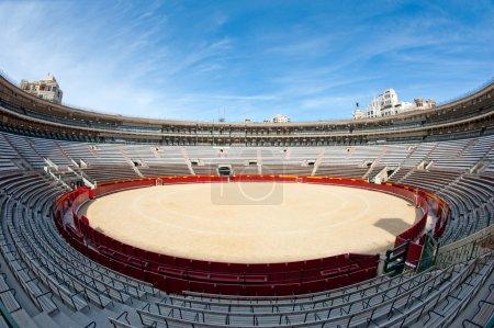 Interior view of Plaza de toros (bullring) in Valencia, Spain. The stadium was built by architect Sebastian Monleon in 1851