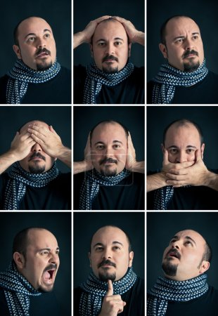 Set portrait of man with different expression on dark background