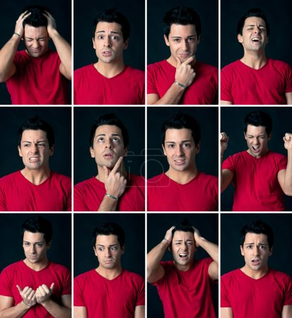 Set of different expressions of the same man on dark background