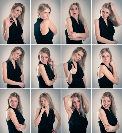 Collage of blonde woman with different facial expressions