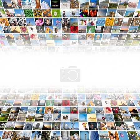 Abstract multimedia background made by different images