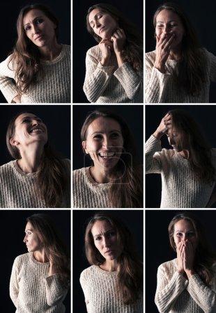 Photo pour Collage de portrait de femme d'âge moyen avec différentes expressions - image libre de droit